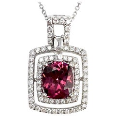 DiamondTown 1.75 Carat Cushion Cut Raspberry Garnet and Diamond Pendant