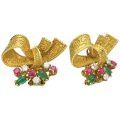 Ruby Emerald and Diamond Gold Ribbon Clip on Earrings