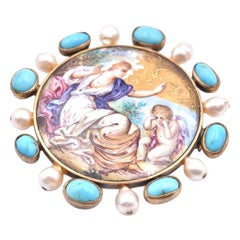 14 Karat Yellow Gold Vintage Pearl and Turquoise Hand Painted Ceramic Pin