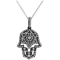 Diamond Black Rhodium Hamsa Hand Pendant Necklace