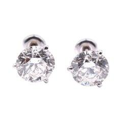 14 Karat White Gold Round Brilliant Diamond Studs