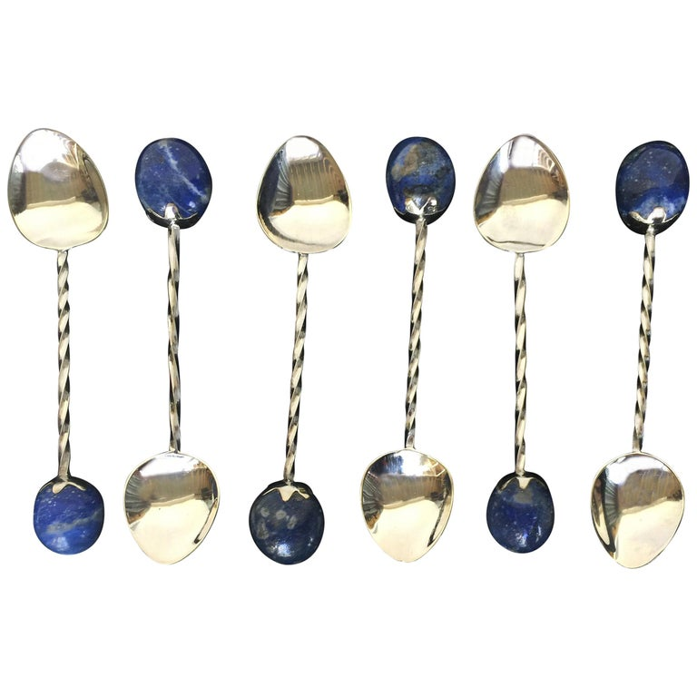 6 Rhodium Plated Sterling Silver Tea Spoon Set with Lapis Lazuli Stones,Marina J For Sale