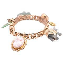 14 Karat Yellow Gold Vintage Jade and Cameo Charm Bracelet