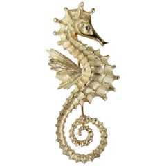 "14 Karat Yellow Gold Diamond ""Sea Horse"" Pin"