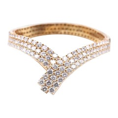 18 Karat Yellow Gold Diamond Lariat Style Bracelet
