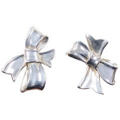 Angela Cummings Sterling Silver large Ribbon Earrings