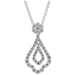 Open-Work Diamond Drop Pendant Necklace