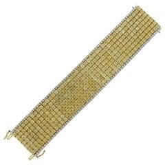 Fancy Yellow Diamond 18 Karat Two-Tone Gold Bracelet