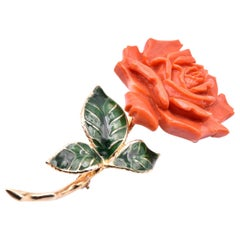 14 Karat Yellow Rose Carved Coral Pin