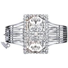 3.94 Carat Old Mine and Old European Diamond Platinum White Gold Cuff Bracelet