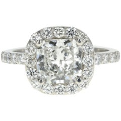 Platinum 2.11 Carat Radiant Diamond Halo Engagement Ring GIA Certified