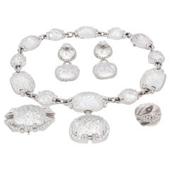 David Webb Vintage Platinum Diamond and Rock Crystal Jewelry Set