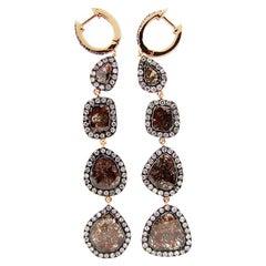 5.97 Carat Rose Cut Slice Brown Diamond Earring