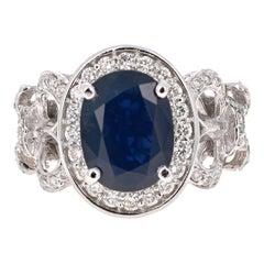 4.53 Carat Blue Sapphire Diamond 14 Karat White Gold Ring