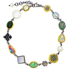Multi-Gemstone and Ancient Coin Two-Tone Bohemian Necklace