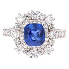 3.17 Carat GIA Certified Sapphire Diamond 18 Karat White Gold Ring