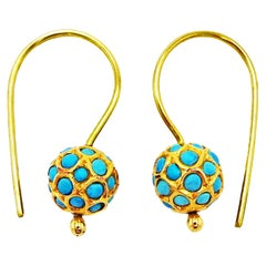 Turquoise and 18 Karat Gold Drop Earrings