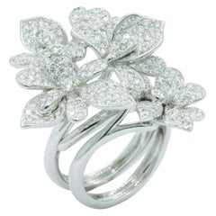Diamond Floral Two-Finger Ring, 2.58 Carat