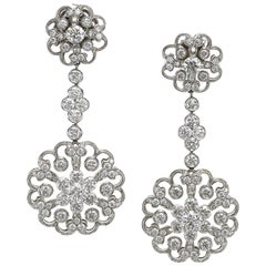 Jack Kelege Platinum 3.43 Carat Diamond Flower Convertible Earrings