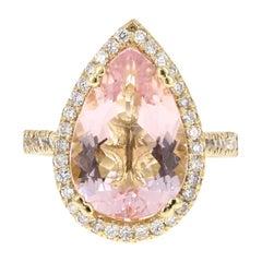6.31 Carat Morganite Diamond 18 Karat Yellow Gold Cocktail Ring