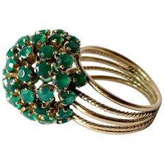 1960s Emerald Gold Starburst Ball Cocktail Ring