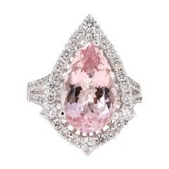 6.18 Carat Morganite Diamond 18 Karat White Gold Cocktail Ring