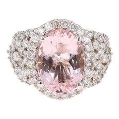 7.25 Carat Morganite Diamond 18 Karat White Gold Cocktail Ring