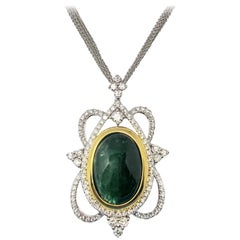 Hunter Green Cabochon Emerald White Gold Pendant Necklace