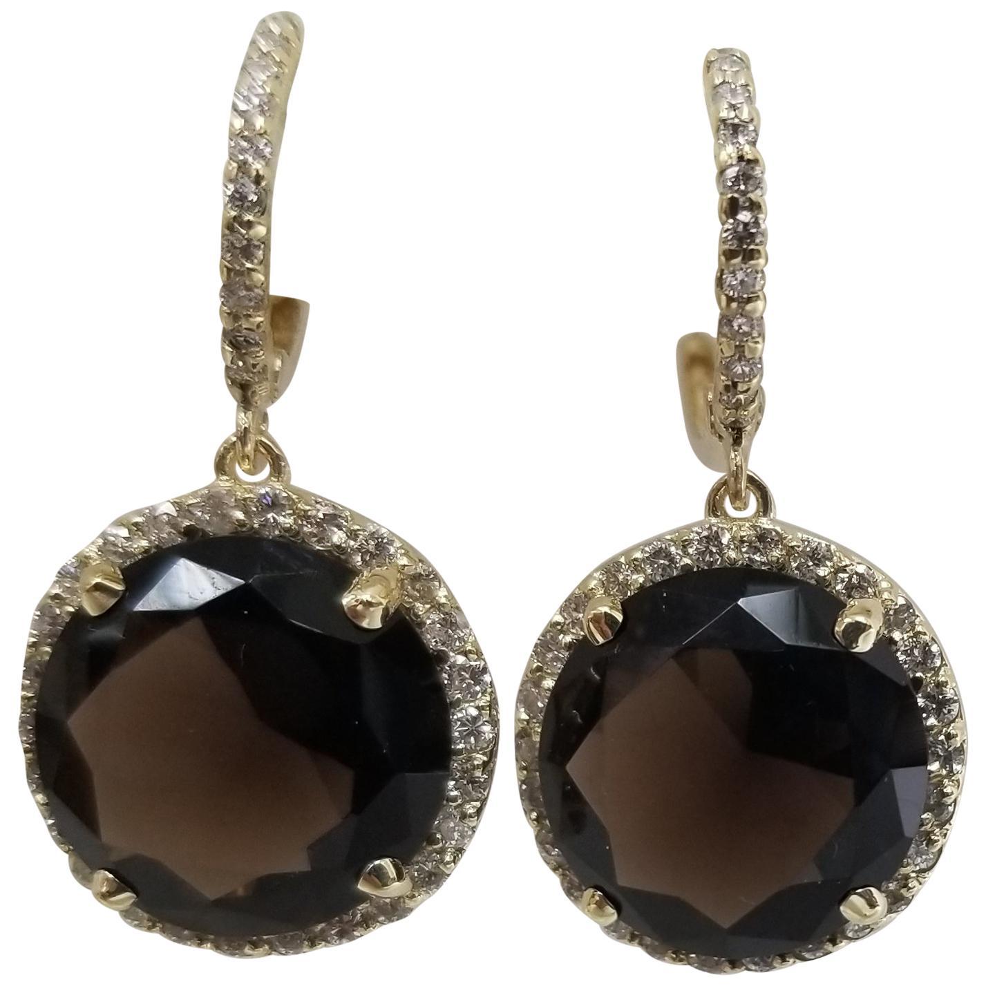 14 Karat Yellow Gold Diamond Hoop with Smokey Quartz Earrings