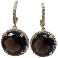 14 Karat Yellow Gold Diamond Hoop with Smokey Quartz Earrings