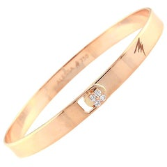 18K Rose Gold & 0.10 cts White Diamond Spectrum Solid Bracelet by Alessa Jewelry