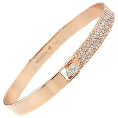 Alessa Half Pave Solid Bracelet 10 Karat Rose Gold Spectrum Collection