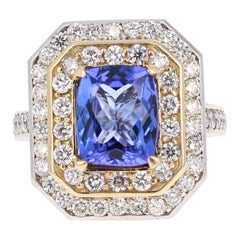 4.46 Carat Tanzanite Diamond 14 Karat White and Yellow Gold Cocktail Ring