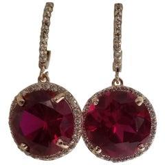 14 Karat Rose Gold Diamond Hoop with Lab Created Ruby Earrings