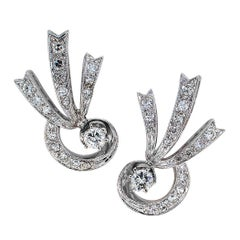 1950s Diamond White Gold Clip Earrings