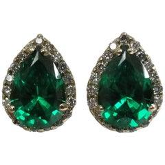 14 Karat Yellow Gold Lab Created Emerald Diamond Pear Shape Halos