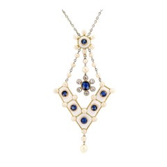 Victorian White Enamel Diamond Pearl Sapphire Gold Platinum Necklace