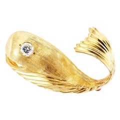 E. Pearl Diamond Gold Whale Brooch