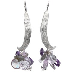 Spring Dancing: Vanilla Bean Dangle Earrings-Amethyst Pearl Labradorite Silver