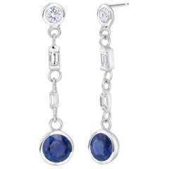 Sapphire and Baguette Diamond Drop Earrings Weighing 2.30 Carat