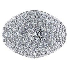 3.20 Carat white Diamond Dome Pave 18 Karat White Ring