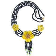 Quartz Flowers 18 Karat Yellow Gold Multi-Strand Necklace