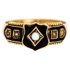 Victorian Enamel and Pearl 9 Carat Gold Mourning Ring