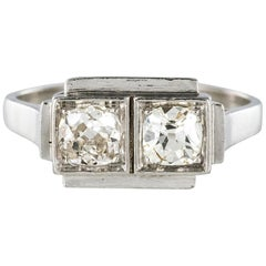 French 1925s Art Deco 2 Diamonds Platinum Ring