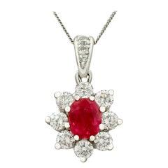 Vintage Ruby and Diamond White Gold Pendant Circa 1970