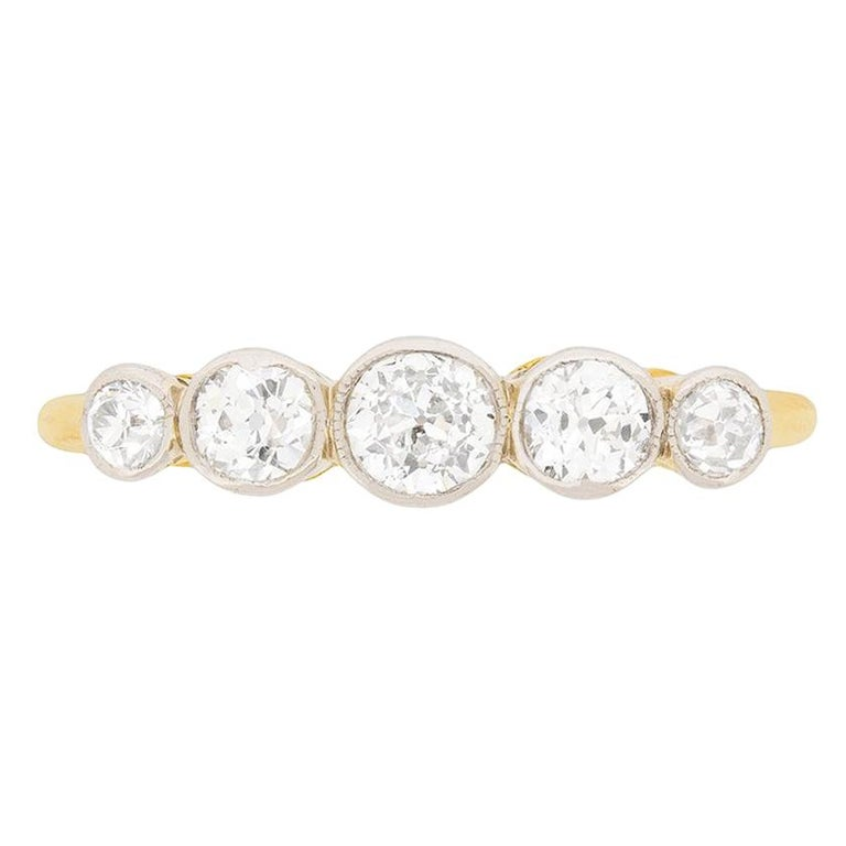 Edwardian Five-Stone Diamond Engagement Ring, circa 1910 For Sale