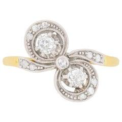 Edwardian Two Diamond Bow Shaped Dress Ring, circa 1910