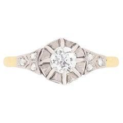 Edwardian 0.30 Carat Diamond Solitaire Ring, circa 1910