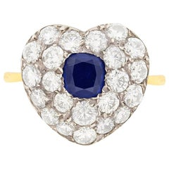 Art Deco Sapphire and Diamond Heart Shaped Ring, circa 1940s
