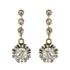 French 1900s Belle Époque Yellow Gold Diamond Dangle Earrings